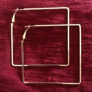 Gold Large Square Hoop earrings.